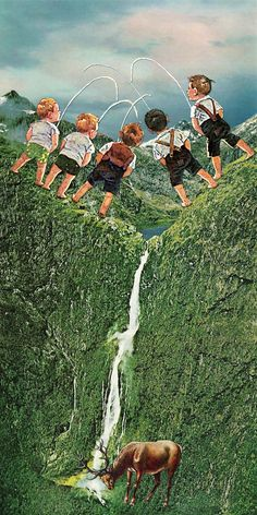 """""""Chemical Dump"""" by Eugenia Loli. Childish corporations throwing their polluting garbage where it eventually reaches our dinner plate. Collages, Surreal Collage, Collage Artists, Surreal Art, Eugenia Loli, Collage Illustration, Illustrations, Love Collage, Kunst Online"""