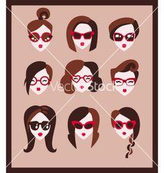 Fashion girls in glasses vector on VectorStock®