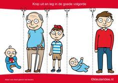 Knip uit en leg de plaatjes in logische volgorde van jongen tot opa, kleuteridee.nl , cut out and sequece boy life cycle free printable.