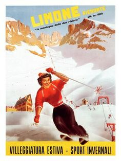 limone-piemonte-carlo-prandoni-skiing-wintersports-travel-poster-1955    #TuscanyAgriturismoGiratola