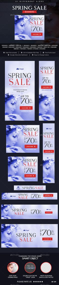 Buy Spring Sale Banners by Hyov on GraphicRiver. Promote your Products and services related to Spring Sale with this great looking Banner Set. Spring Sale, Spring Web, Website Promotion, Spring Studios, Print Design, Graphic Design, Banner Template, Banner Design, Web Banners