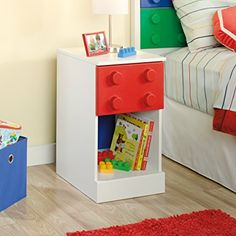 Bring your child's room to life with the fun and functional Sauder Primary Street 1 Drawer Nightstand . This bedside companion includes a wood top, one. Boy Room, Kids Room, Child's Room, Kids Bedroom Furniture, Furniture For Kids, Lego Bedroom Decor, Lego Furniture, Minecraft Furniture, Furniture Design
