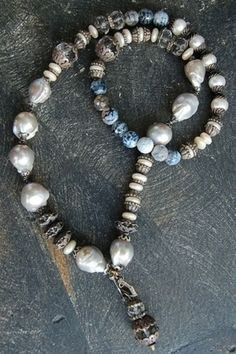 Rona Pfeiffer Pearl And Blue Necklace