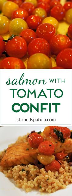 With bright lemon-oregano oil and slow-roasted cherry tomatoes, Salmon with Tomato Confit is delicious and easy!