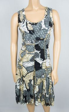 JOSEPH RIBKOFF Dress 4 S Sleeveless Ruffle Neck Floral Lace Gown Flair Skirt