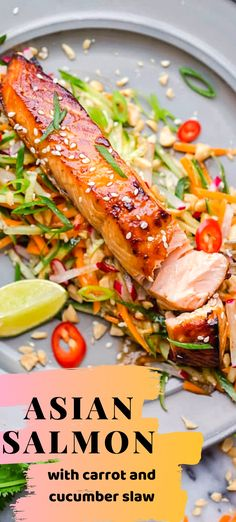 Asian Salmon with Carrot and Cucumber Slaw Asian Salmon with Carrot and Cucumber SlawYou can find Salmon recipes healthy and more on our website.Asian Salmon with . Garlic Salmon, Salmon And Asparagus, Baked Salmon, Delicious Salmon Recipes, Lunch Recipes, Cooking Recipes, Healthy Recipes, Cucumber Recipes, Salmon Salad Recipes
