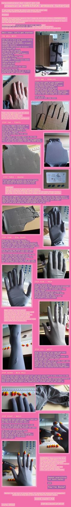How to make an armsock for cosplay on a sewing machine. This is for a Homestuck cosplay but can be modified for a Weeping Angel. Cosplay Diy, Halloween Cosplay, Best Cosplay, Halloween 2015, Amazing Cosplay, Anime Cosplay, Larp, Diy Costumes, Cosplay Costumes