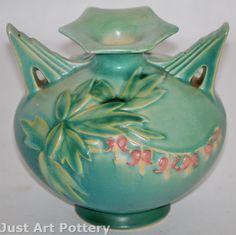 Roseville Pottery Bleeding Heart Green Vase 961-4 from Just Art Pottery