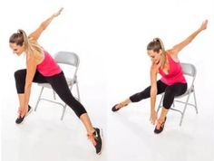 Burn Calories With Chair Cardio Exercises. Have you ever wondered that you can do a great fat burning cardio workout while sitting on a chair? Fat Burning Cardio Workout, Toning Workouts, Flat Belly Workout, Tummy Workout, Fat Workout, Chair Exercises, Belly Exercises, Sport, Chair Yoga