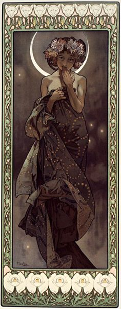 fuckyeahvintageillustration:  'La Lune et les étoiles: 4 panneaux décoratifs et couverture / The moon and the stars: four decorative panels and a cover' by Alphonse Mucha, 1906. Source