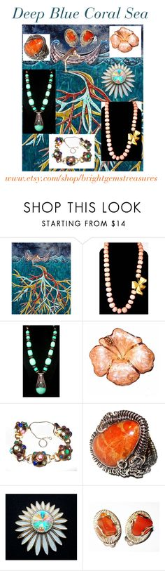 """Deep Blue Coral Sea"" by brightgemsu ❤ liked on Polyvore"