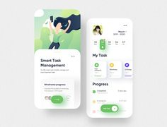 Smart Task Management app UI by Ariunbold Ankhaa for Solitude on Dribbble Ui Design Mobile, App Ui Design, Interface Design, Flat Web Design, User Interface, Website Design Inspiration, Ui Inspiration, Wireframe, Page Web