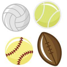 Sports Balls SVG files tennis ball svg file football svg file softball svg file volleyball svg cutting machines