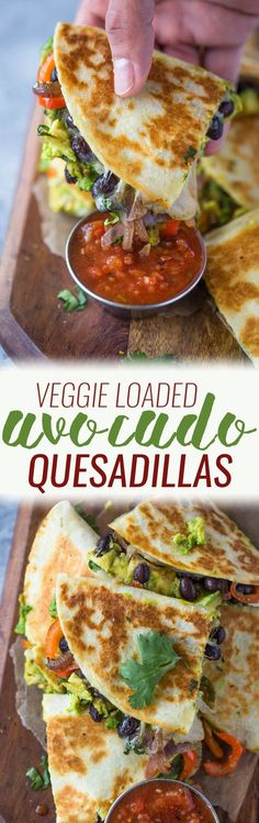 Avocado Black Bean Quesadillas -- Crispy quesadillas filled with beans, sautéed onions, bell pepper, avocado and lots of cheese. These avocado black bean quesadillas are filling and make a great vegetarian meal too!