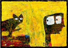 suspicious minds e9Art ACEO Cat Outsider Art Brut Original Painting OOAK Folk #OutsiderArt