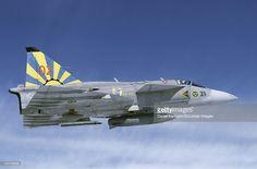 Bildbanksbilder : Saab JA 37 Viggen fighter of the Swedish Air Force in Midnight Sun painting.