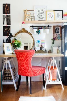 The orange chair is a bright spot in this space.