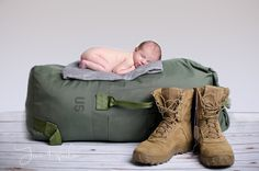 Newborn baby girl boy photography photo picture image military army navy Air Force marine duffle bag boots combat posing props ideas