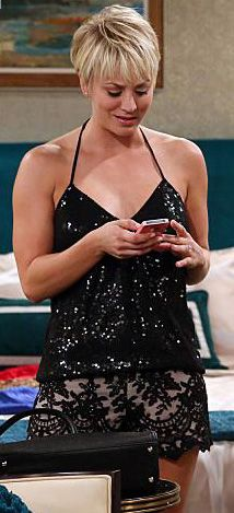 Penny's black sequinned halter top and lace shorts on The Big Bang Theory.  Outfit Details: http://wornontv.net/38206/ #TheBigBangTheory