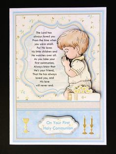 Communion Boy Prayer Card Topper Decoupage on Craftsuprint designed by Janet Briggs - made by Valerie Spowart