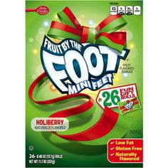 Betty Crocker Fruit by the Foot Mini Feet Holiberry Fruit Flavored Snacks, 0.45 oz, 26 count