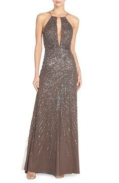Adrianna Papell Beaded Mesh Fit & Flare Gown available at #Nordstrom