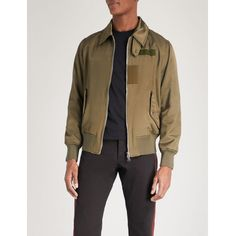 ALEXANDER MCQUEEN Poem embroidered shell bomber jacket ($2,870) ❤ liked on Polyvore featuring men's fashion, men's clothing, men's outerwear, men's jackets, alexander mcqueen mens jacket, mens collared jacket, men's shell jacket, men's embroidered bomber jacket and mens fur collar bomber jacket