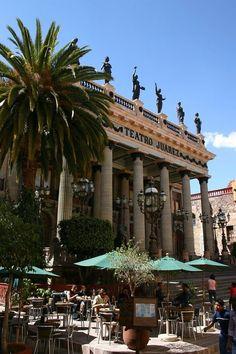 Teatro Juárez. Juárez Theater.  Located in Guanajuato, Mexico.  It has a neoclassical facade. Opened in 1903.