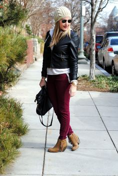Love the fringed booties with oxblood jeans and leather jacket