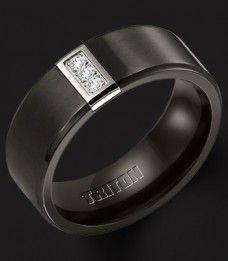 B-2945BT - 8MM Triton Black Titanium Ring, .08 CWT Genuine Diamonds, Comfort Fit