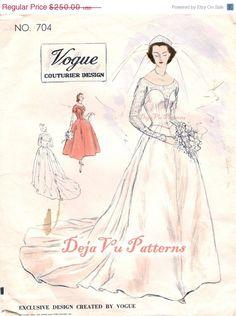 ON SALE Vogue 704 Vintage 1950s Bridal Dress by DejaVuPatterns, $212.50