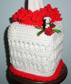 KLEENEX TISSUE BOX COVER Crochet CHRISTMAS Penguin NEW