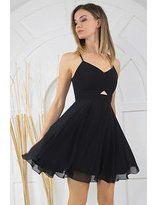 Size Özel Saygı Kadın Siyah Şifon Sırtı Çapraz Kısa Abiye Elbise