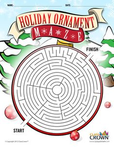 ClassCrown Holiday Ornament Maze Your students will love this great Christmas themed maze in the shape of a holiday ornament. The maze is designed in full, vibrant color for m. Printable Activities For Kids, Free Christmas Printables, Christmas Activities, Christmas Themes, Christmas Crafts, Math Activities, Christmas Maze, Christmas Puzzle, Christmas Holidays
