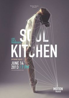 Mod 8 - Soul Kitchen designed by Caroline Grohs (1 of 3) as part of the Motion Theater Ballet Series. This is a seamless integration of image and typography. The concept of the lines tying it all together is remarkable and adds another dimension. The hierarchy of text is flawless making this truly great design.
