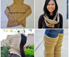 Upcycle a Wool Sweater Into a Hooded Circle Scarf and Leg Warmers | Instructables