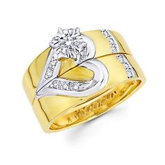Size- 9 - .19ct Diamond 14k Gold Heart Engagement Wedding Two Ring Set (G-H Color, I1 Clarity) * Details can be found by clicking on the image.