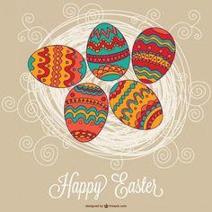 Easter vector eggs card