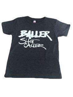 Baller Shot Caller Tee in Charcoal (Size 12mo)