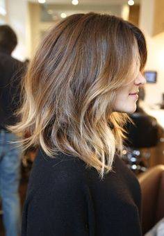 Beach waves on short-medium length hair.