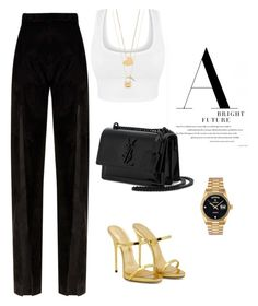 """Untitled #596"" by sanchez-drummond ❤ liked on Polyvore featuring Yves Saint Laurent, Giuseppe Zanotti, Balmain, Tory Burch and Rolex"