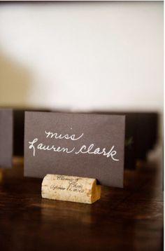 cork placecard holders #wedding #DIY