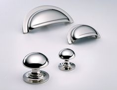 Polished chrome cupboard drawer pulls and knobs - SDS London