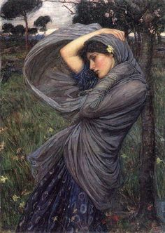 The Goddess, Ostara braces herself against the winds of change that are brought about by her betrothed, Boreas. John Waterhouse art