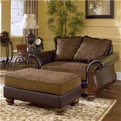 Signature Design by Ashley Wilmington -  Walnut Traditional Chair-and-a-Half and Ottoman - Item Number: 3460223+3460214