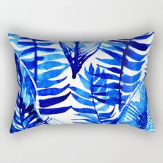 Jungle Leaves & Ferns in Blue Rectangular Pillow by lostmarketplace. Worldwide shipping available at Society6.com. Just one of millions of high quality products available.