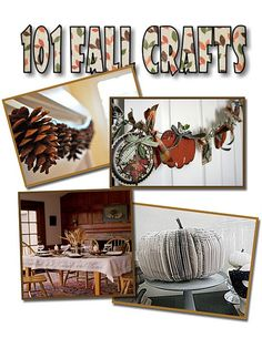 101 Fall Craft Ideas you can make  Pumpkins, pine cones, pillows, garlands