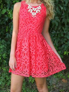 Fashionista Review: Coral Red Lace Sleeveless Sundress Red Dress Bouti...