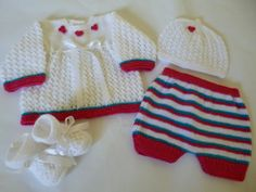 Knitted Baby Girl Outfit , Ensemble, Set , Suit.0 to 3 Months Antiallergic Yarn