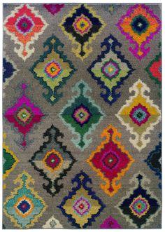 Kaleidoscope Grey and Multicolored Area Rug